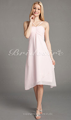 Imperium Chiffon Knælængde Spaghetti Snore Bridesmaid/ Wedding Party Kjole