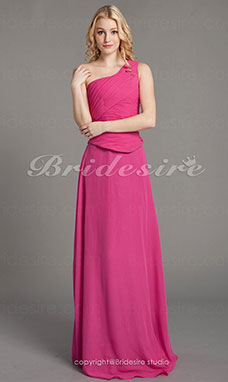 Kappe/ Column Gulvlængde En Skulder Separate Chiffon Over Satin Bridesmaid/ Wedding Party Kjole
