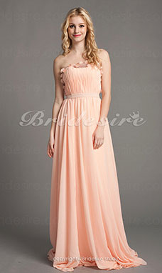 A-linje Sweep Brush Train Stropløs Luxurious Chiffon og Satin Chiffon Kjolees