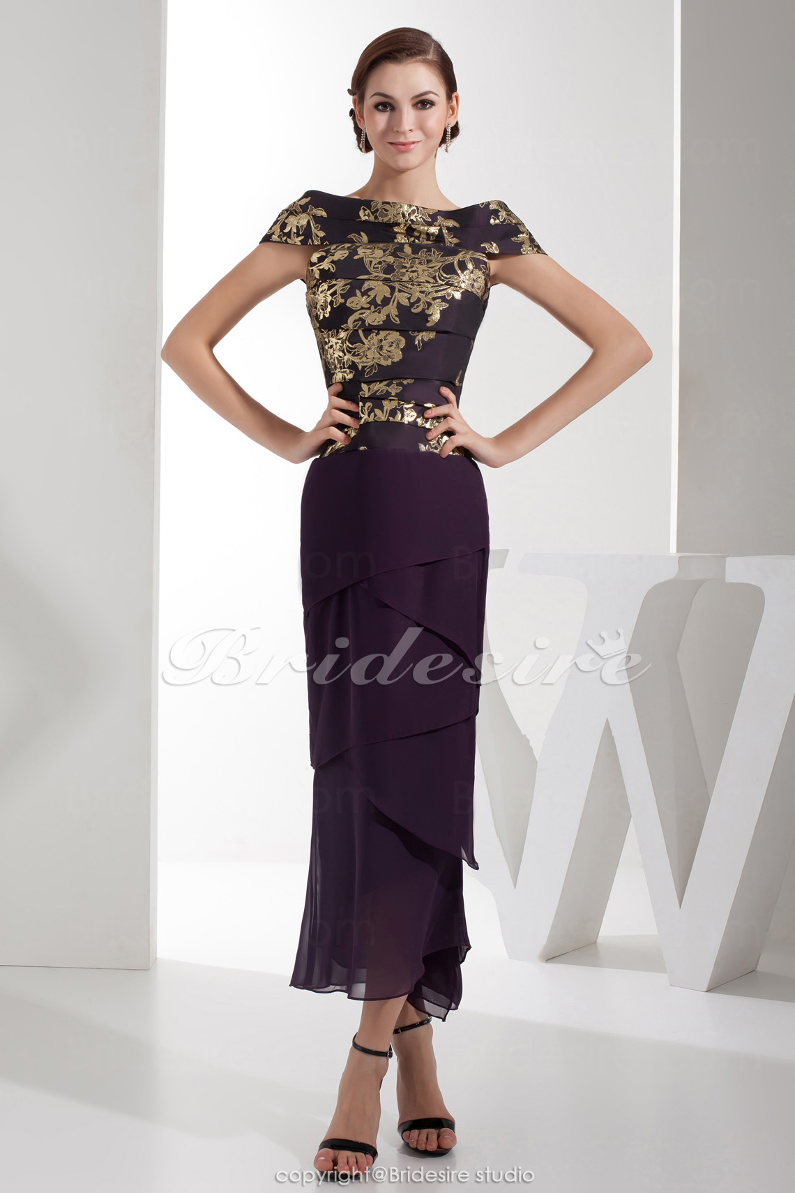 Trumpet/Mermaid Bateau Ankle-length Short Sleeve Satin Dress