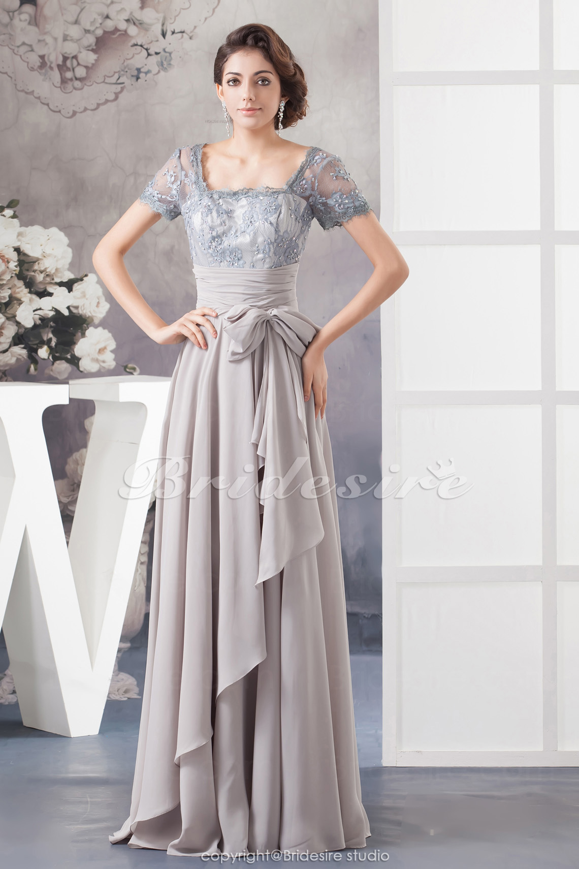 A-line Square Floor-length Short Sleeve Chiffon Lace Dress
