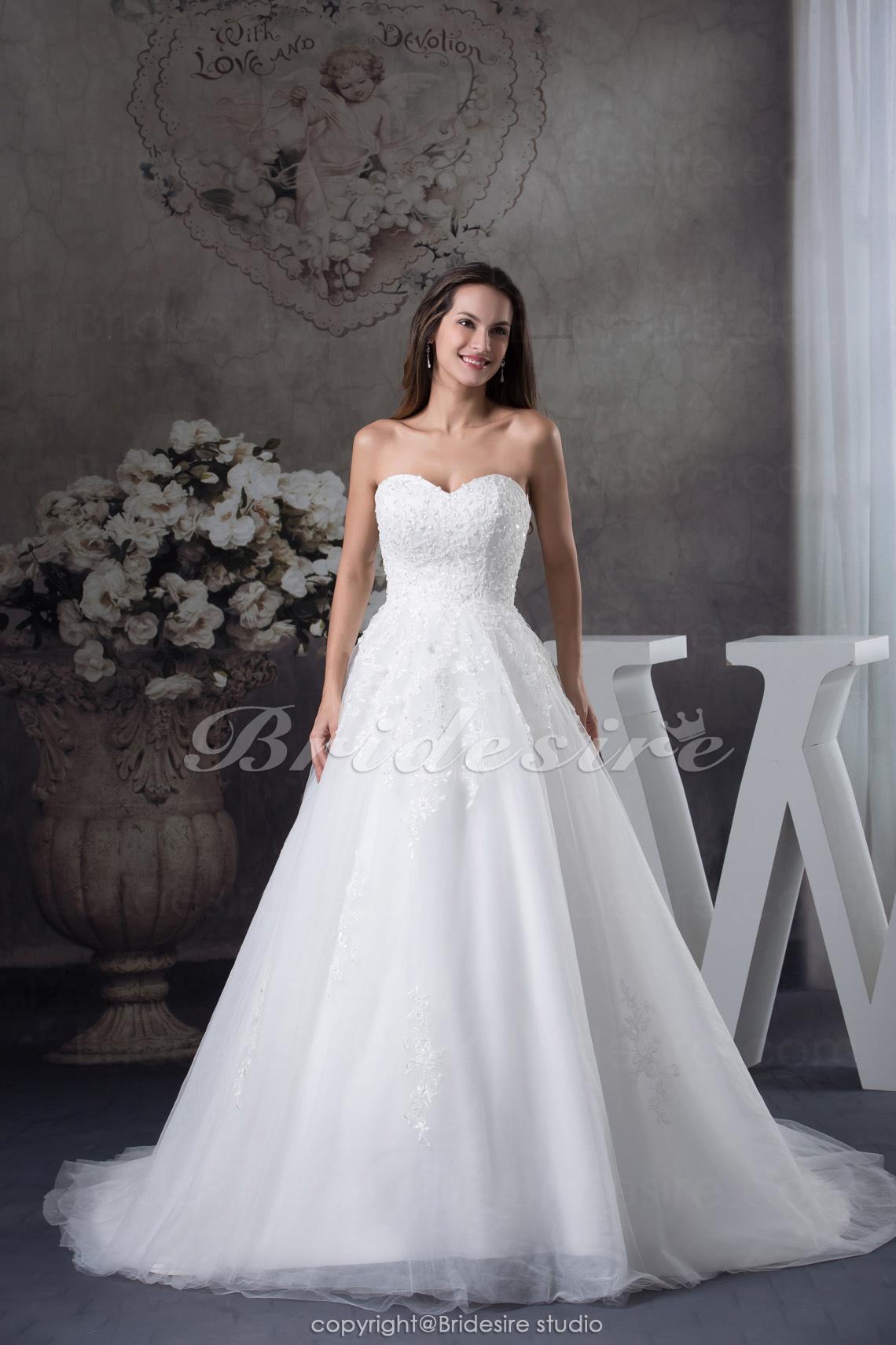 b6b71cfd Bridesire - A-linje Kæreste Kapel Tog Ærmeløs Organza Brudekjole [BDH1229]  - DKK1,502.27 : Bridesire