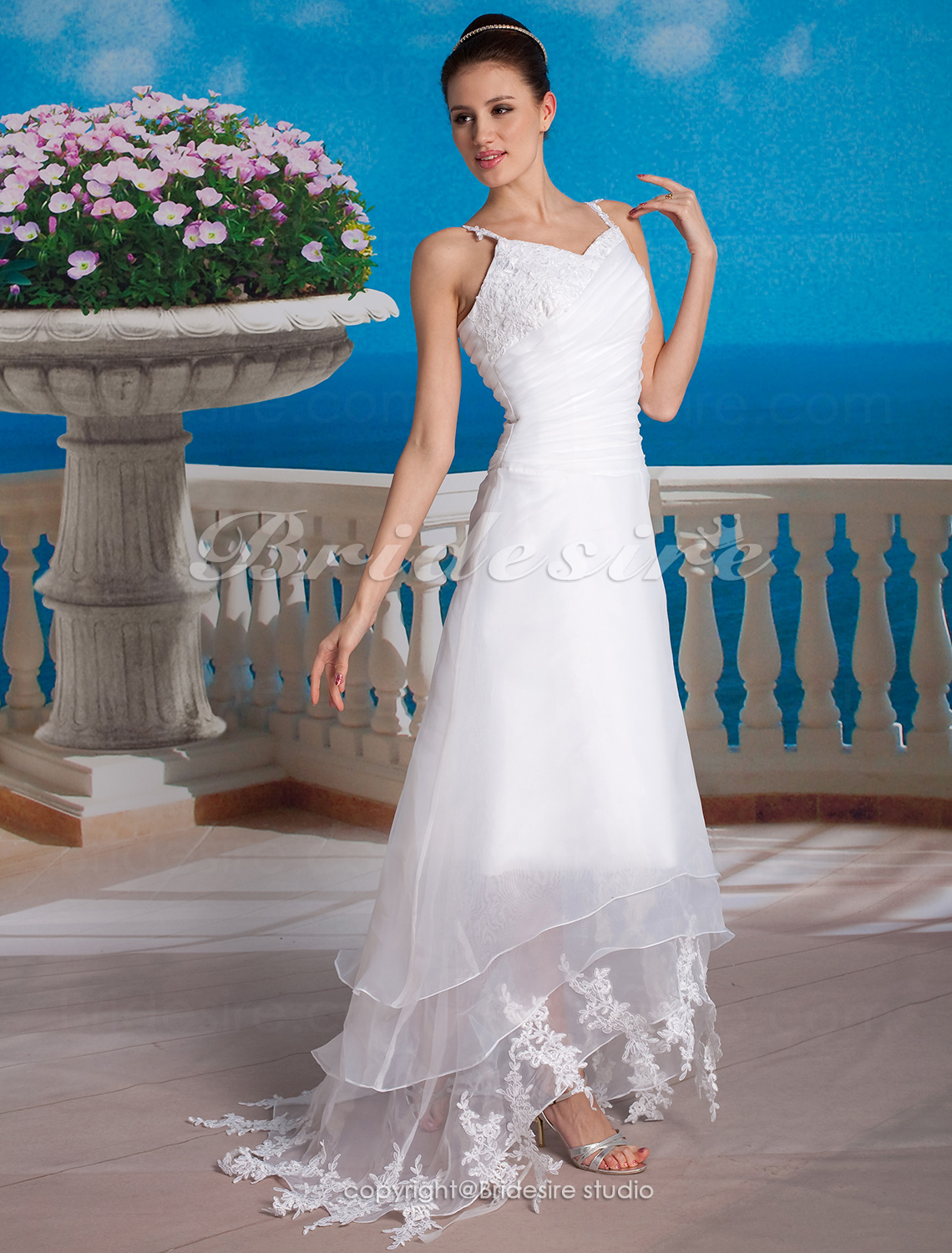 A-line Organza Asymmetrical V-neck Wedding Dress