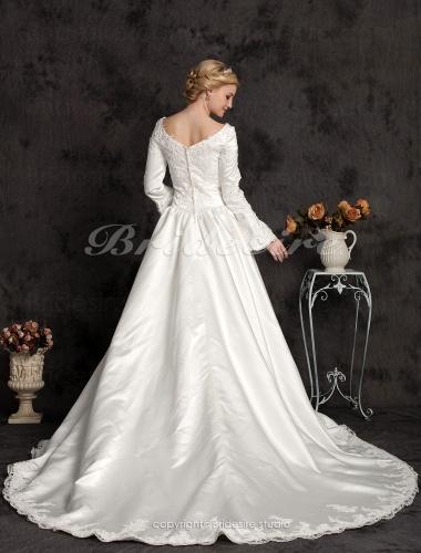 79235021903a Bridesire - Balkjole Lang Satin Sleeve Luksus V-hals Brudekjole With ...