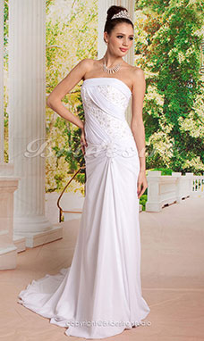 Kappe/ Column Flare and Side-Draperet Fit Brudekjoler with Beaded Applique