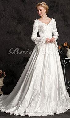 9b3e3067 Balkjole Lang Satin Sleeve Luksus V-hals Brudekjole With Beaded  Applikationer