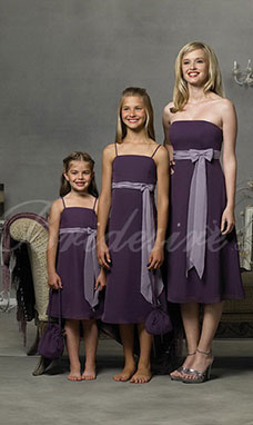 de510497e158 A-linje Spaghetti Knælængde Chiffon Blomstpige kjole
