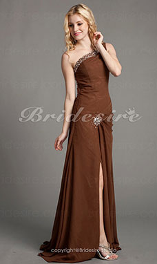 dcc52cb8b883 Kappe Kolonne Chiffon Gulvlængde En Skulder Aften kjole