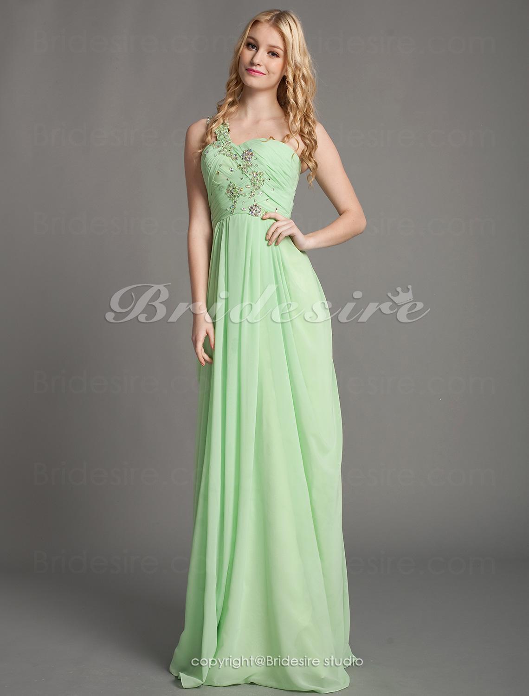 3a843d65a16 Bridesire - Kappe/Kolonne Chiffon En Skulder Gulvlængde Kæreste Aften kjole  [341840] - DKK836.85 : Bridesire