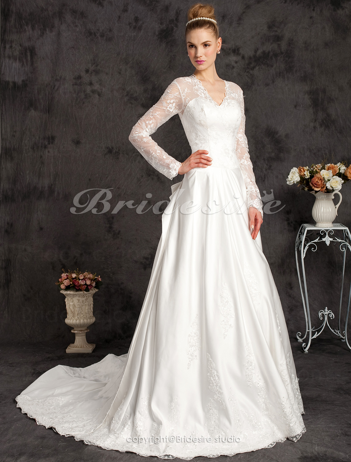 A-line Satin And Satin Lace Chapel Train V-neck Wedding Dress In