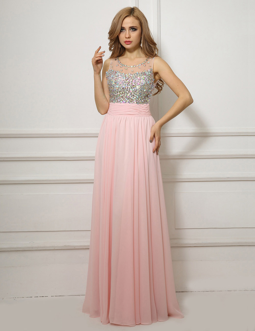 A-linje Juvel Sweep/Brush Train Chiffon Aftenkjole